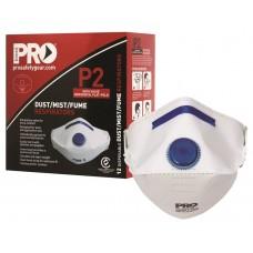 Face Masks - Respirator P2 with horizonal fold & valve, Box 12